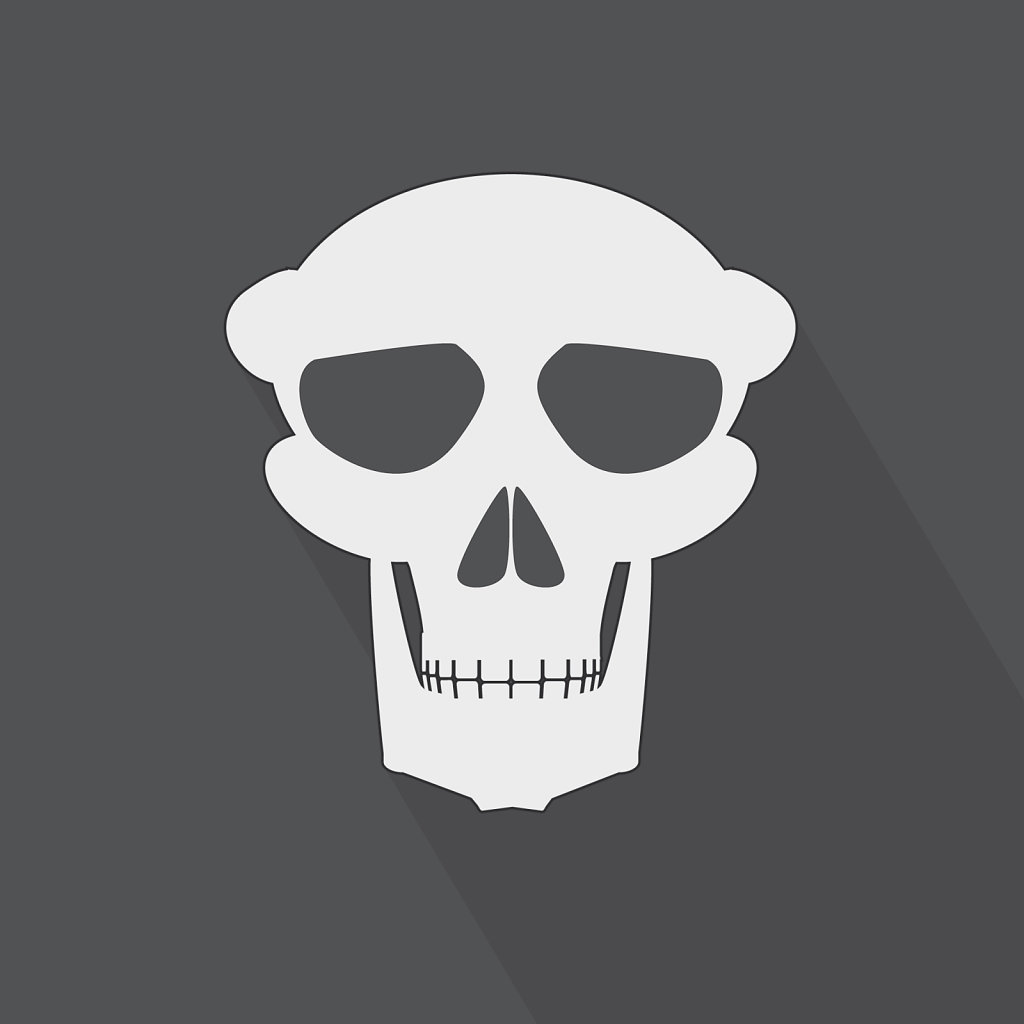 A spooky skull flat design on a gray background