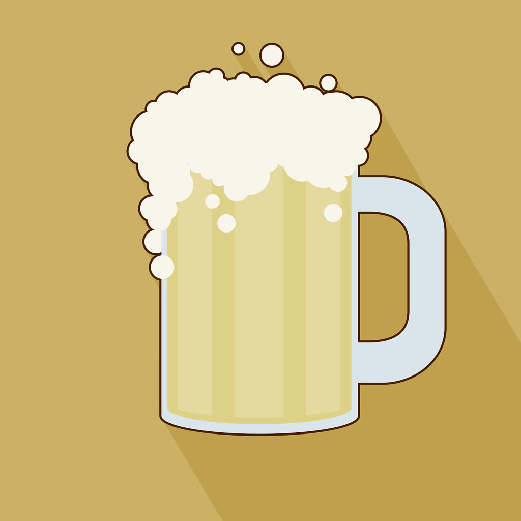 Foamy beer flat design icon on mustard yellow background