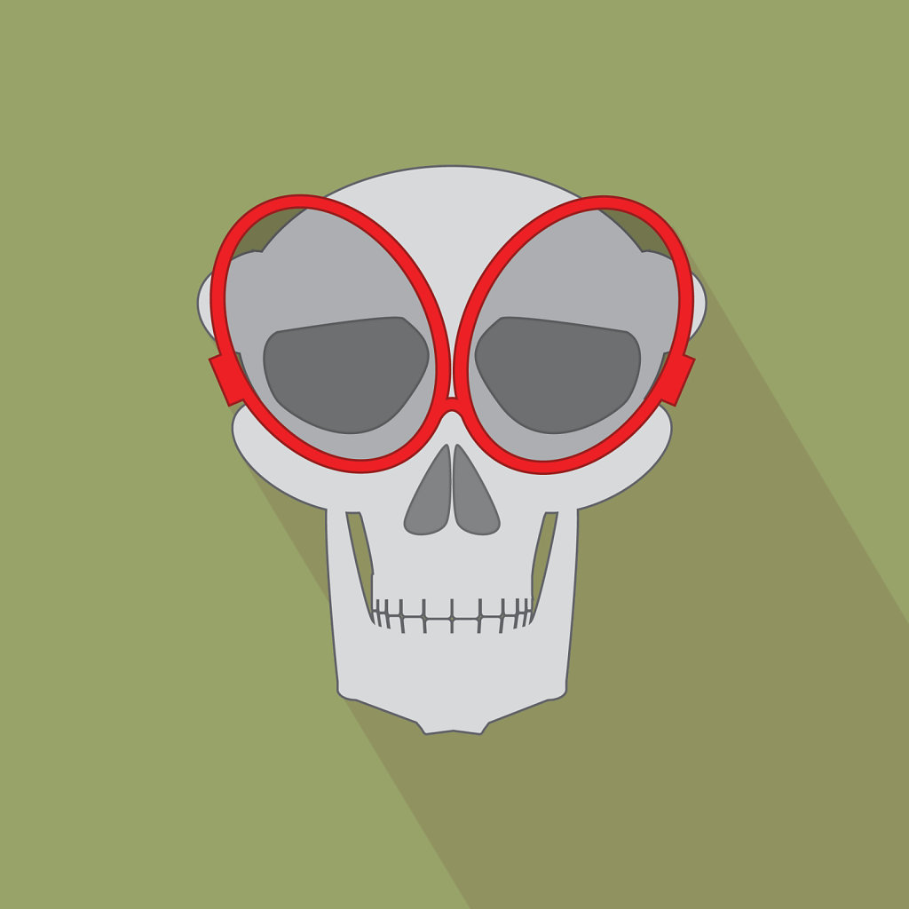 flat design icon of skull with red glasses green background
