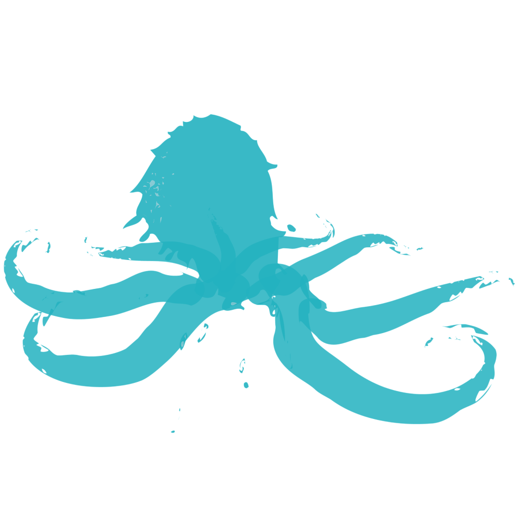 Blue abstract octopus illustration