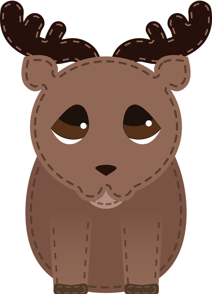 Transparent background deer with stitches