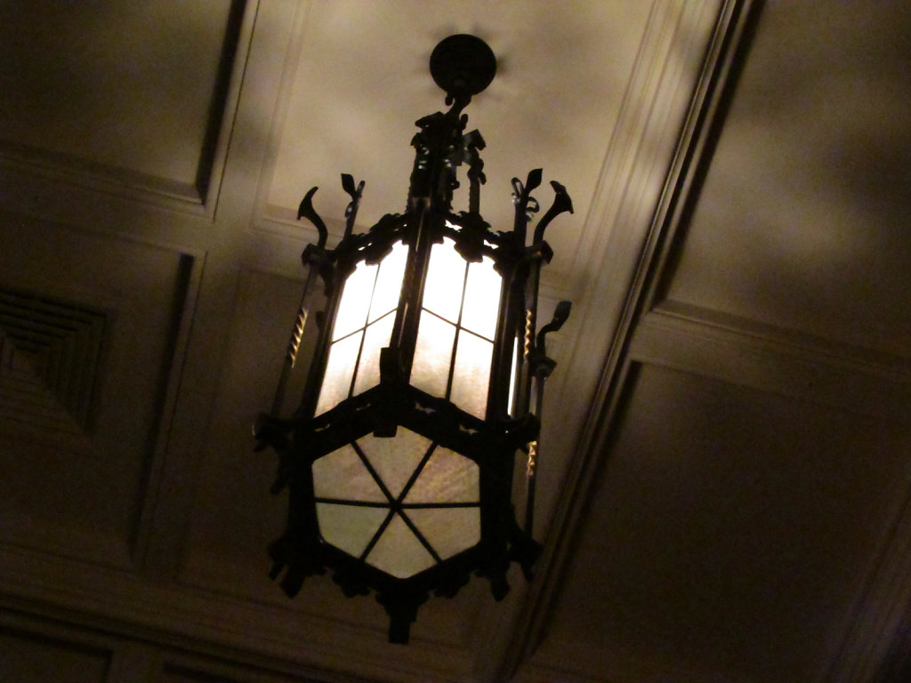 Large cast iron hanging ceiling light image