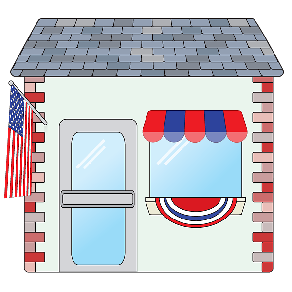 American patriotic small shop image on a transparent background