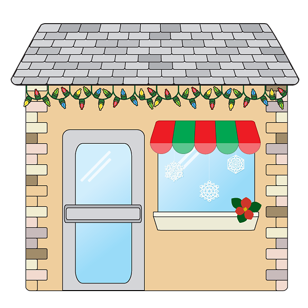 Transparent background small business shop decorated for Christmas