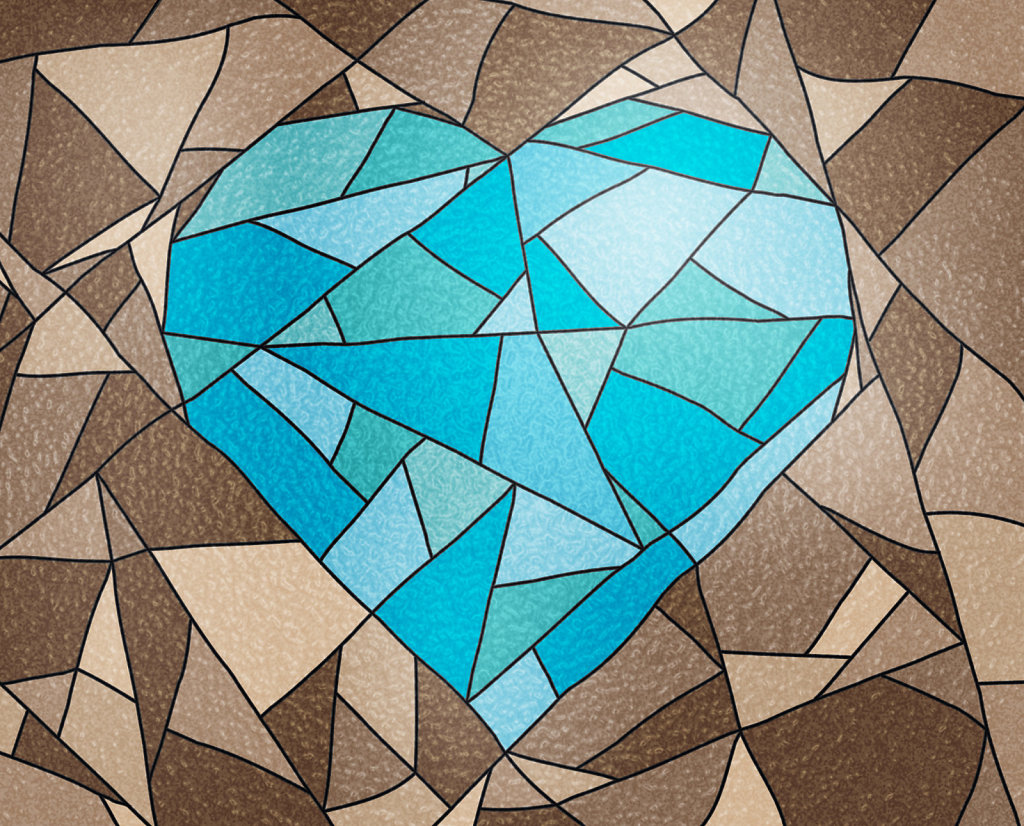 mock stained glass blue heart on brown