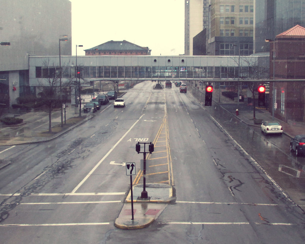 Downtown street view with light rain