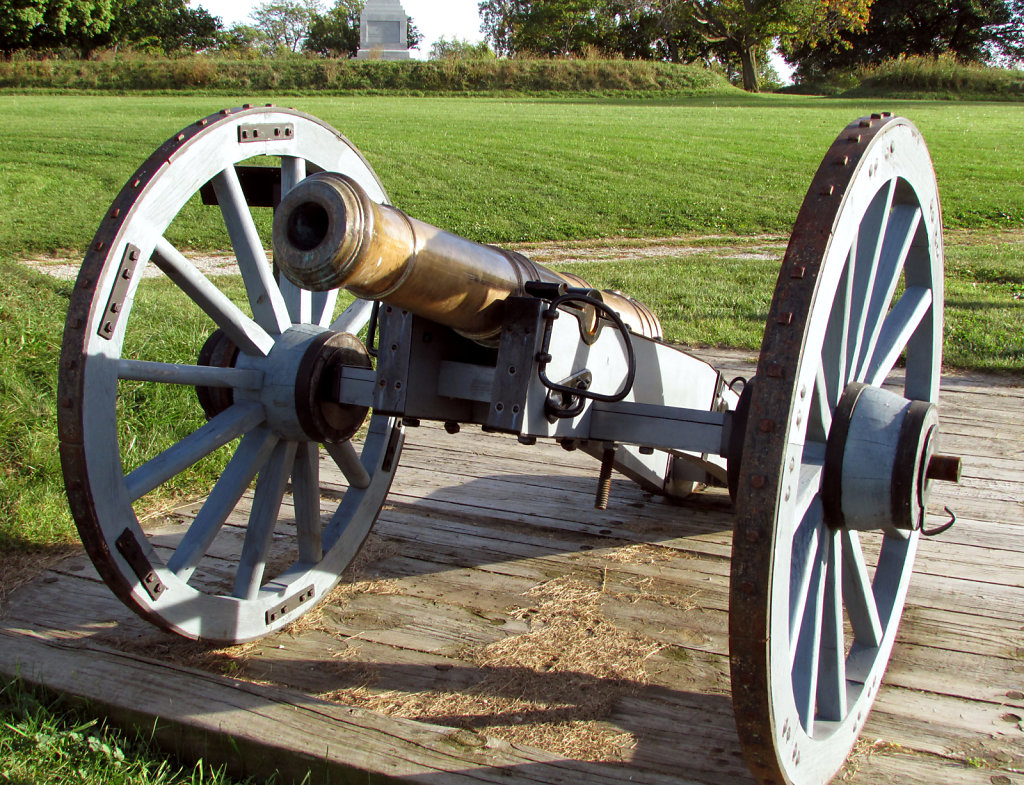 Portable cannon on a platform