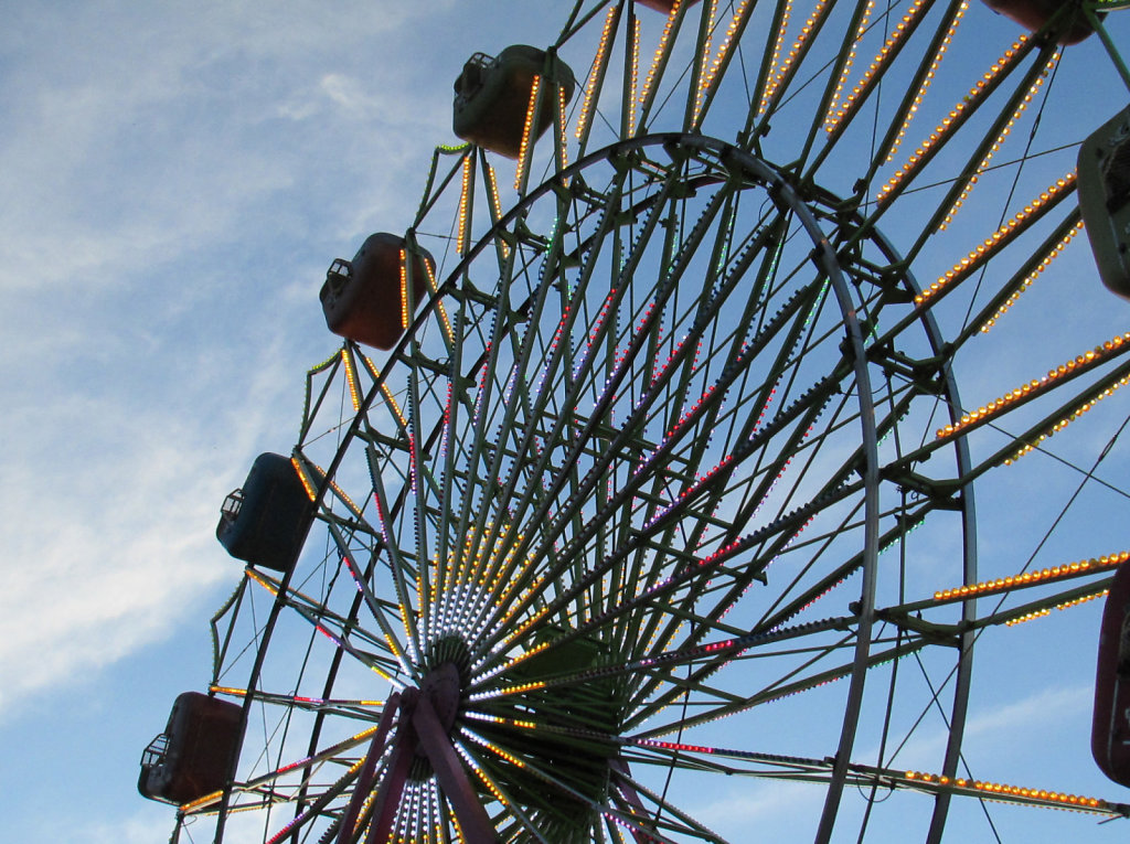 Ferris Wheel with lights on