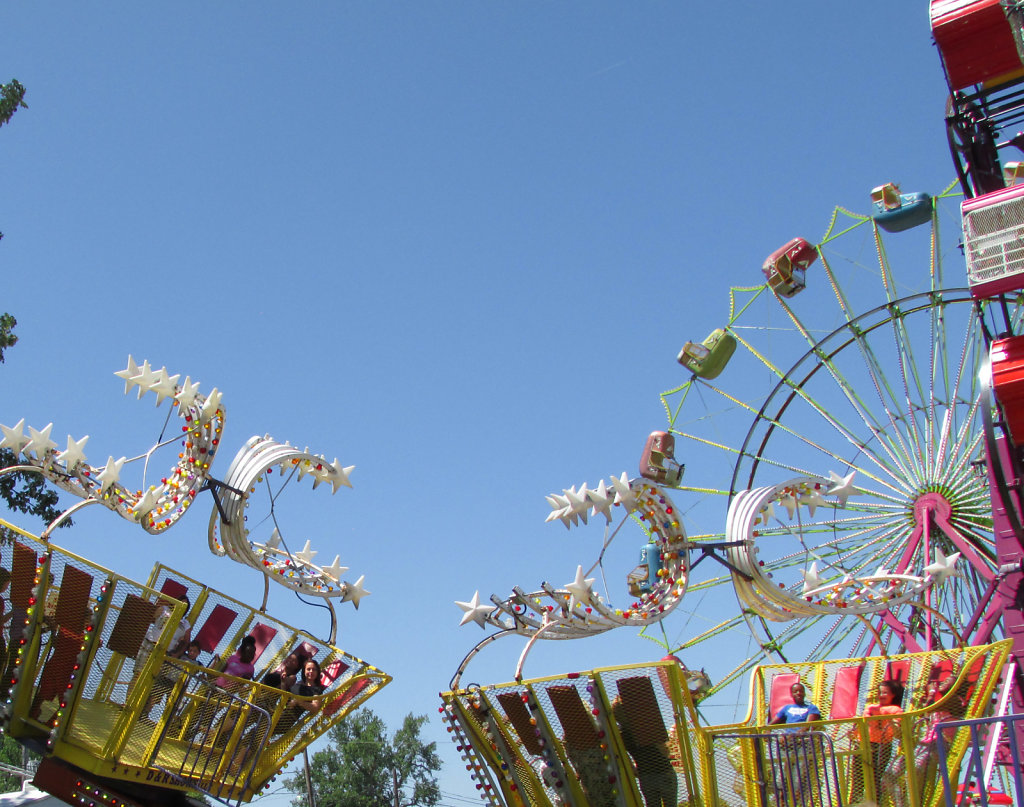 Carnival rides during summer