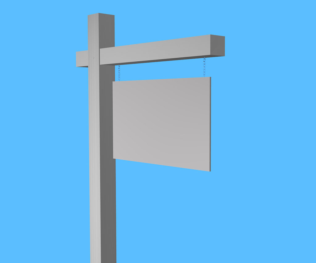 angled blank yard sign