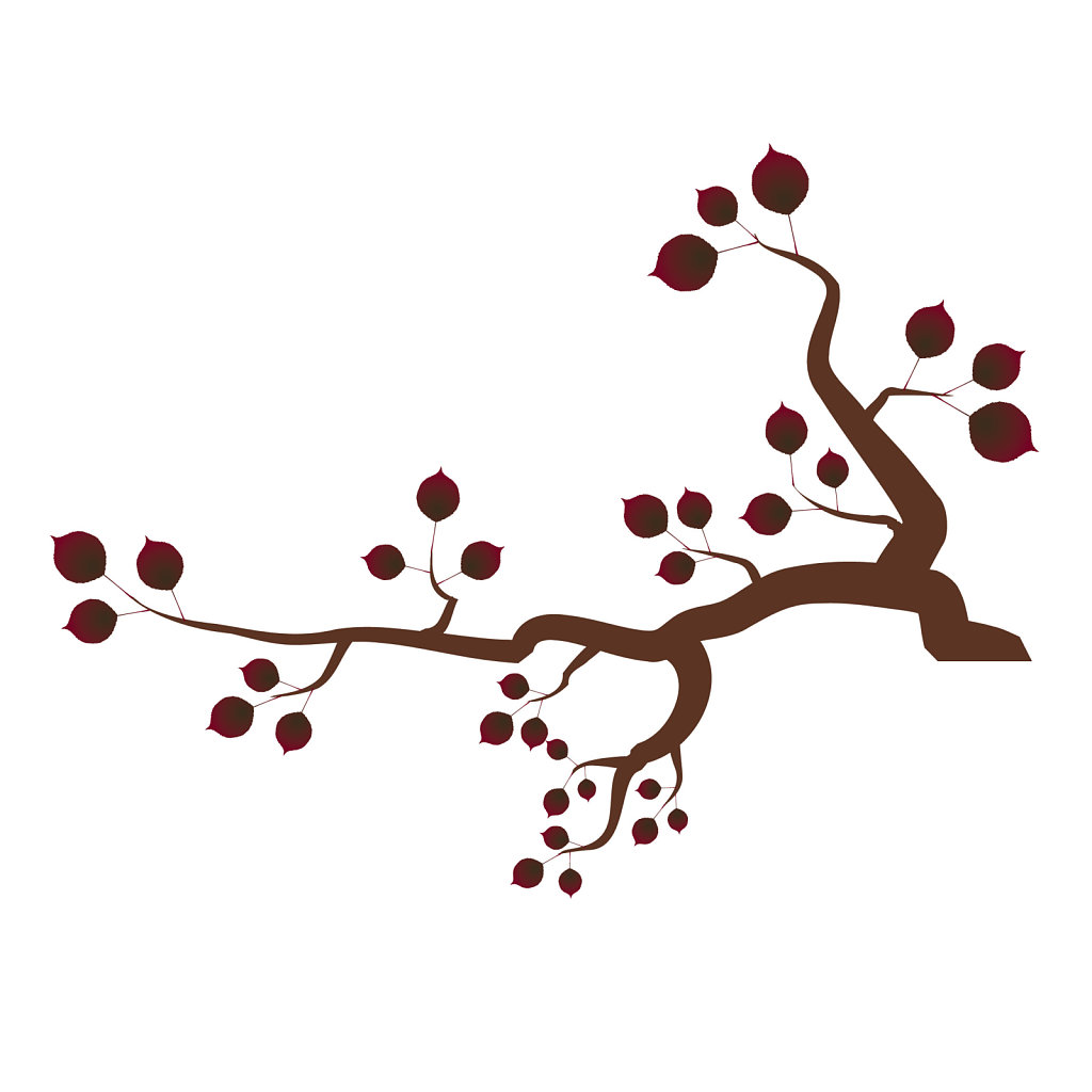 Tree branch with red leaves clipart