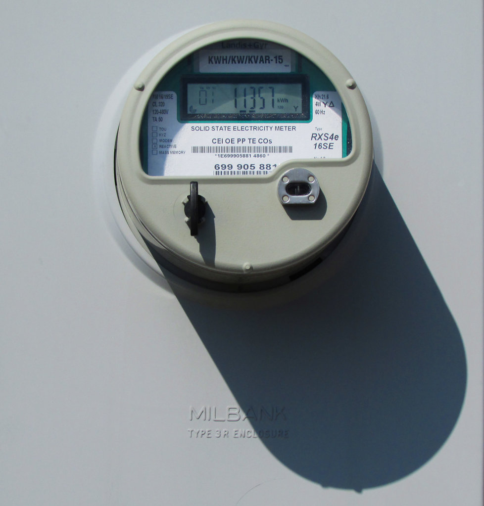 Electric meter on a wall