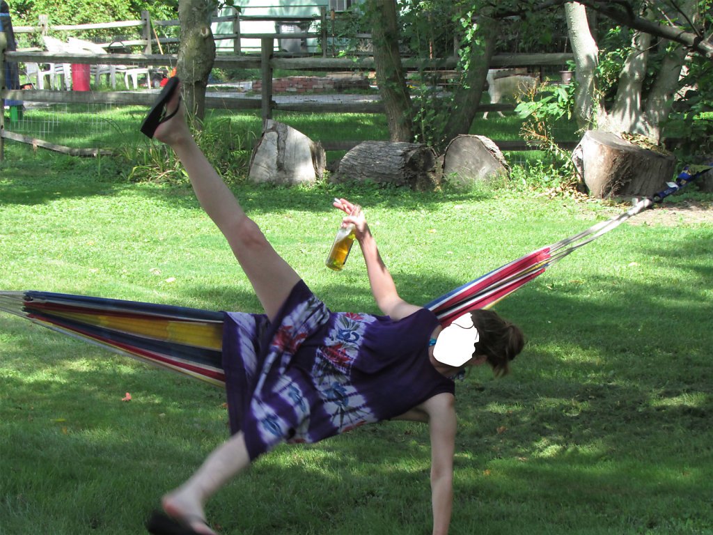 drunk girl falls out of hammock