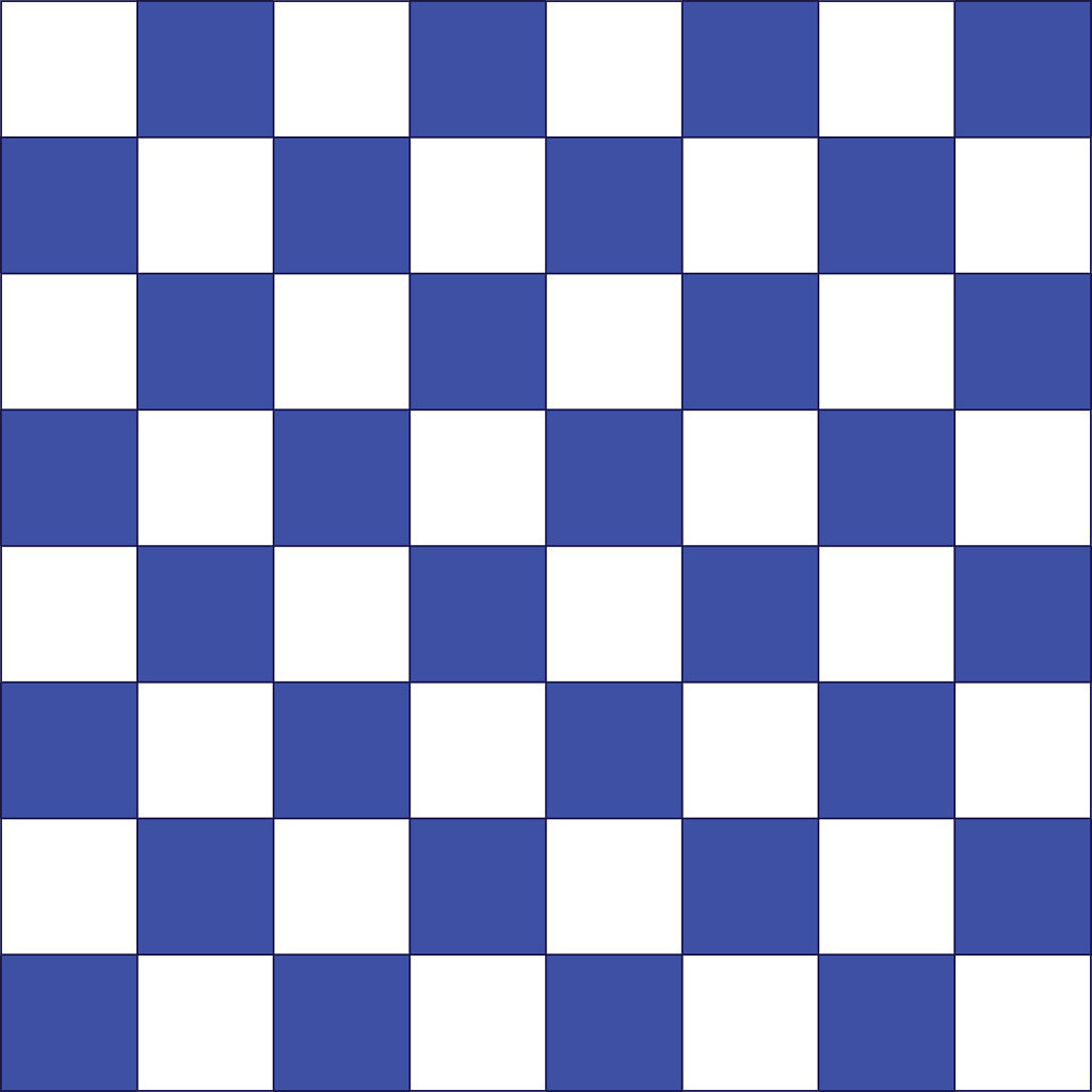 Blue and white chessboard design